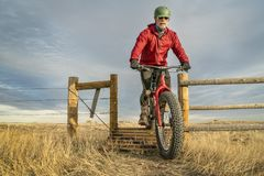 Riding a mountain fat bike over cattle guard Stock Images