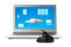 Riding mouse with cloud computing picture on screen Stock Images