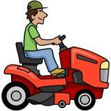 Riding Mower. Cartoon man on a riding mower Stock Photos