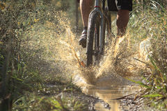 Riding Through Mud. Mountain biker hits a muddy puddle at speed Stock Photography