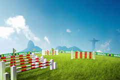 Riding obstacles jump Olympic games Royalty Free Stock Photos