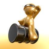 Riding oil barrel icon Stock Image