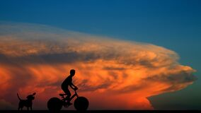 Free Riding Over Sunset, Bali Island Resort, Indonesia.  Royalty Free Stock Images - 174285919