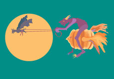 Riding a pumpkin past the moon. Royalty Free Stock Image
