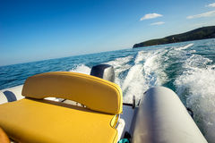 Riding on RIB boat Stock Photos