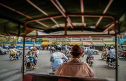Riding in Rickshaw Royalty Free Stock Images