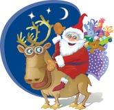 riding santa северного оленя подарков ch мешка весёлый Стоковые Изображения