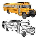 Riding school buses Royalty Free Stock Image