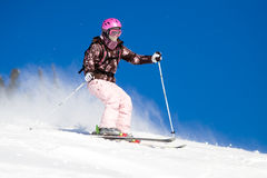 Riding on skis Royalty Free Stock Photos