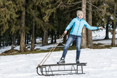 Riding the sledge Stock Photography