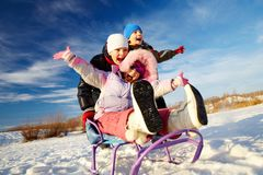Riding on sledge Royalty Free Stock Photos