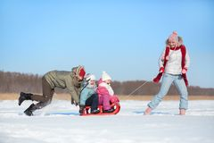 Riding on sledge Stock Photo
