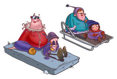 Riding the sledge Royalty Free Stock Images