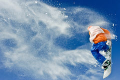 Riding snowboard man Stock Images