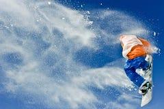 Riding snowboard man Stock Images