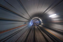 Riding through subway tunnel Royalty Free Stock Images