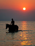 Riding in the sunset Stock Images