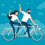 Riding a tandem bike royalty free stock photos