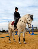 Riding teen and grey horse Stock Photos