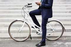 Riding to work on bicycle Royalty Free Stock Images
