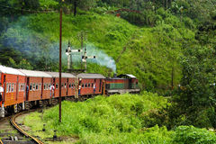 Riding by train the scenic mountain. Track from Nuwarelia to Colombo royalty free stock images