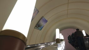 Riding up on escalator in Moscow underground stock footage