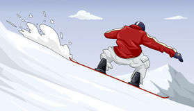 Riding white waves. Digital illustration of a snowboarder riding snow waves Stock Photo