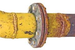 ridit ut isolerat gammalt rør för anslutningsfläns gas arkivbild