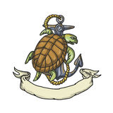 Ridley Sea Turtle on Anchor Drawing Royalty Free Stock Images