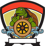 Ridley Turtle At Helm Crest Retro Royalty Free Stock Images