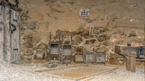 Ridnaun Valley Ridanna in South Tyrol, Italy - may 27,2017: interior hall of South Tyrol mining Museum. the miners` tools in mi. Nes royalty free stock photography