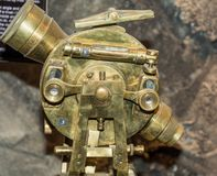 Ridnaun Valley Ridanna in South Tyrol, Italy - may 27,2017: interior hall of South Tyrol mining Museum. the miners` tools in mi. Nes: close-up of old Theodolite stock photo