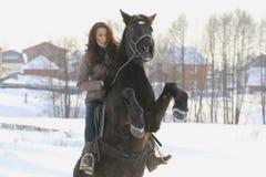 Ridning för ung kvinna på svart häst i snöig bygd - springaren stod på dess bakre ben Royaltyfri Fotografi