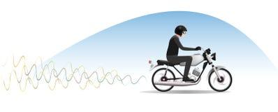 Ridning för ung man på motorcykeln Arkivfoton