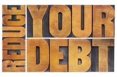 Riduca il vostro debito fotografia stock libera da diritti