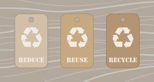Riduca la riutilizzazione riciclano le etichette Fotografia Stock Libera da Diritti