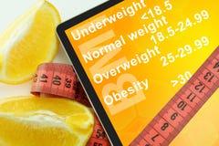 Riduca in pani con l'indice di massa corporea BMI di parole Immagine Stock Libera da Diritti