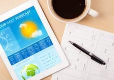Riduca in pani il pc che mostra le previsioni del tempo sullo schermo con una tazza di coffe Immagini Stock