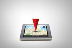 Riduca in pani il pc con la mappa del navigatore dei gps sullo schermo Fotografie Stock Libere da Diritti