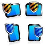 Ridurre in pani 3D e 2D di antivirus dello schermo Fotografia Stock