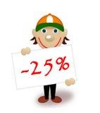 Ridurre in pani con le percentuali, sconto, maniki Fotografie Stock