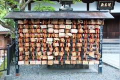 Ridurre in pani di legno di preghiera Immagine Stock