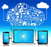 Ridurre in pani globale del telefono del computer portatile del collegamento Immagine Stock Libera da Diritti