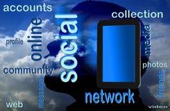 Ridurre in pani sociale del pc e della rete Immagine Stock Libera da Diritti