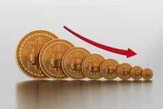 Riduzione del costo di Bitcoin Immagine Stock Libera da Diritti