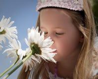 Riechende Blumen des kleinen Mädchens Stockfotografie