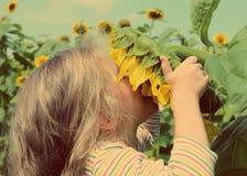 Riechende Sonnenblume des kleinen Mädchens - Weinleseretrostil Stockfotos