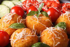 Ried arancini rice balls with vegetables macro. horizontal. Fried arancini rice balls with a salad of fresh vegetables macro. horizontal Royalty Free Stock Photography