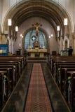 Rieden德国15 04 2018一个简单的教会的内部有空位行和美好的老天花板的 库存图片