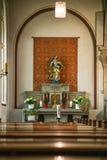 Rieden Γερμανία 15 04 2018 το εσωτερικό μιας απλής εκκλησίας με τις σειρές άδειων θέσεων Στοκ φωτογραφίες με δικαίωμα ελεύθερης χρήσης